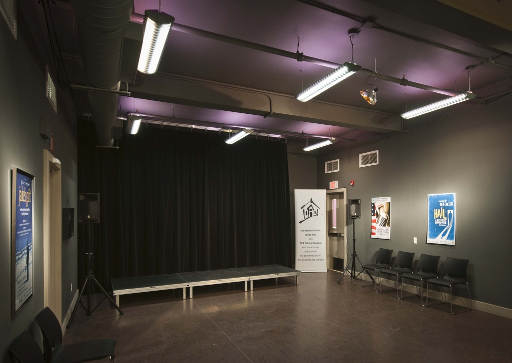 Photo of the stage in the Cox & Palmer Second Space.